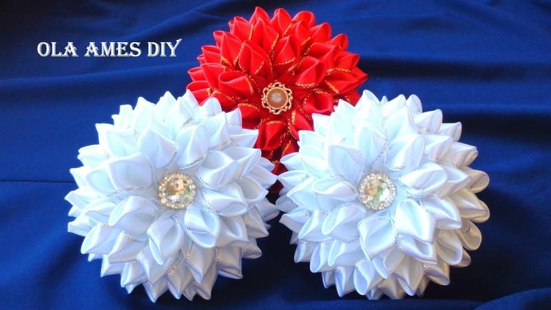 Цветы банты 10 см из лент Канзаши DIY Ribbon Flowers Flores de fita cetim Ola ameS DIY