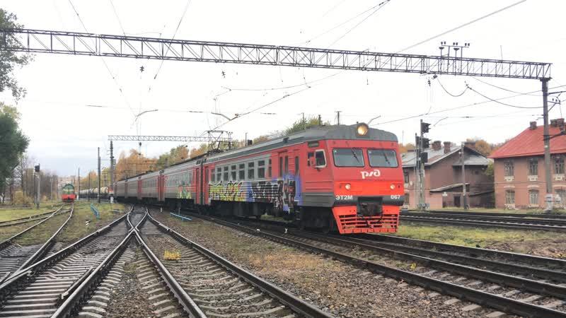 Электропоезд ЭТ2М-067 с граффити (Dsk, Trc, Trc)