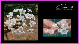 White Allium Filler Flowers,  No Cutters / (aka Free Form) , Cold Porcelain or Gumpaste