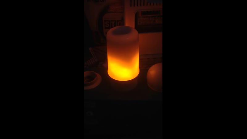 Лампа светодиодная Uniel L60 E27 6W эффект пламени 3 реж цилиндр