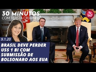 30 minutos com Tereza Cruvinel: Brasil deve perder US$ 1 bi com submissão de Bolsonaro aos EUA