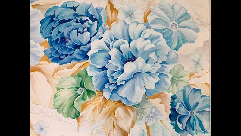 ART SOL Цветы в спальне оттенки синего золотые листья