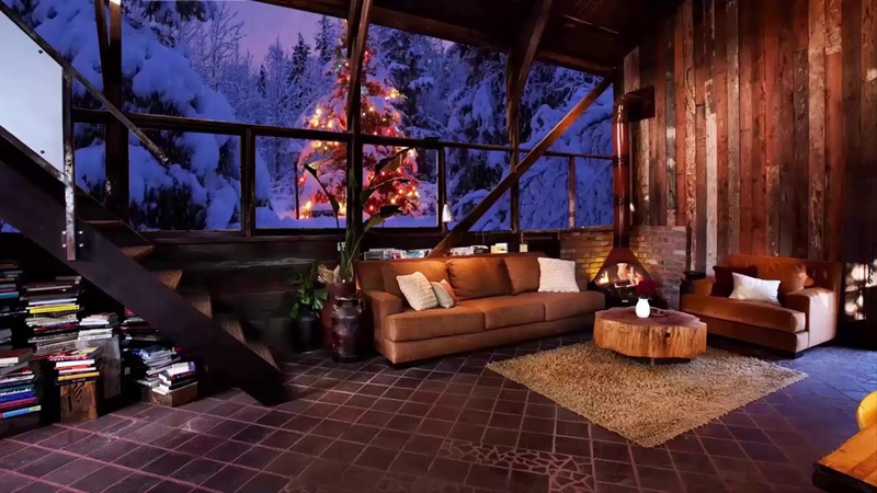 RELAXING ATMOSPHERE Beautiful Snow with Fireplace Cozy Night Sleep