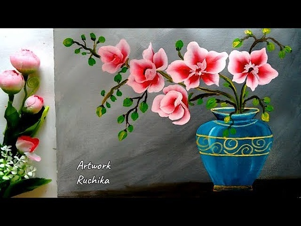 Easy Flower Pot Painting | One Stroke Painting | Acrylic Painting Tutorial