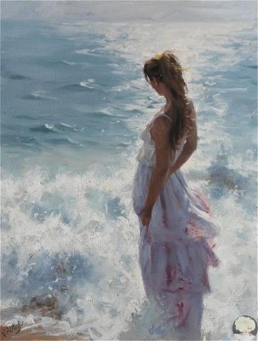Море, женщина, солнце - художник Висенте Ромеро Редондо
