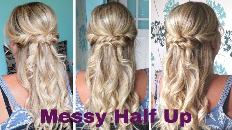 Messy Half up half down curly hairstyle - weddings proms bridesmaid bridal hairstyles
