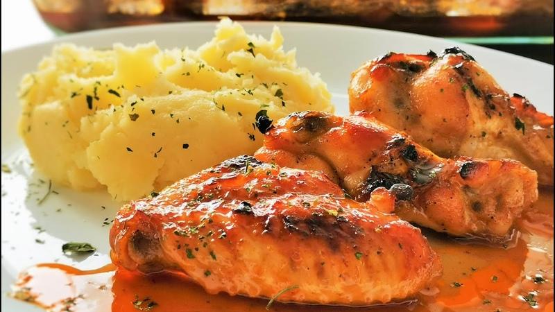 Hänchenflügel mit Sojasoße und Honig Chicken Wings Rezept marinade im Backofen