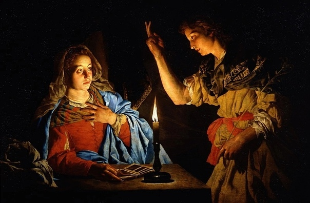 «Благовещение», Маттиас Стомер 1638г.. Холст, масло. Размер: 166×113 см. Галерея Уффици, Флоренция Маттиас Стомер был одним из тех, кого называют «караваджистами», то есть последователем