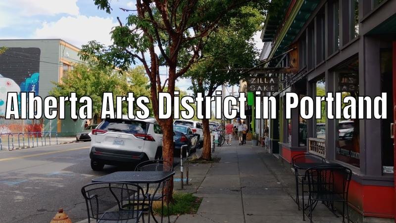 Alberta Arts District Neighborhood Street Tour in Portland OR 2019 - 4K Walking Binaural Audio