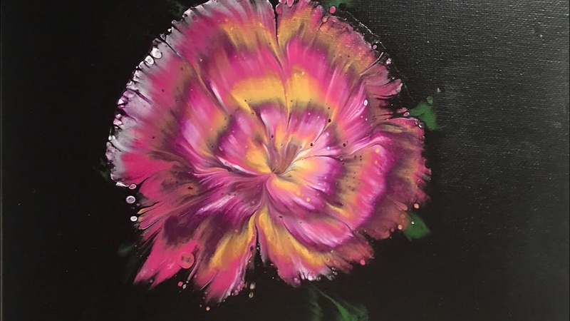 (314) New, Puddle Reverse Flower Dip, Acrylic Paint Pouring