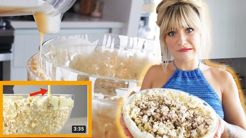 Is this the best MOVIE night POPCORN HACK? | Vegan White Chocolate Popcorn Bowl