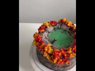 Видео инструкция по декору тортика Осенний лес - причал у горного озера 😍💛