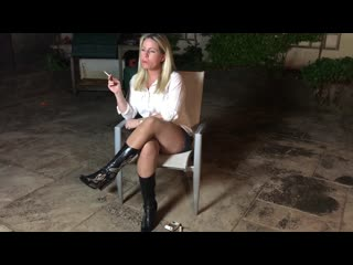 Smoking girl Lucy in tan pantyhose tights with cowboy boots chain smoking blonde