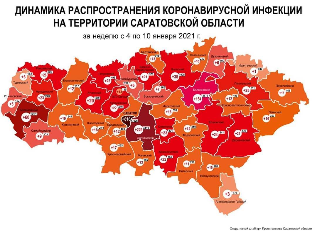Оперативный штаб региона представил карту динамики прироста случаев коронавируса за неделю с 4 по 10 января по муниципалитетам Саратовской области