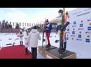 Церемония награждения Александра Большунова в гонке на 50 км на Чемпионате Мира по лыжным гонка в Оберстдорфе 2021