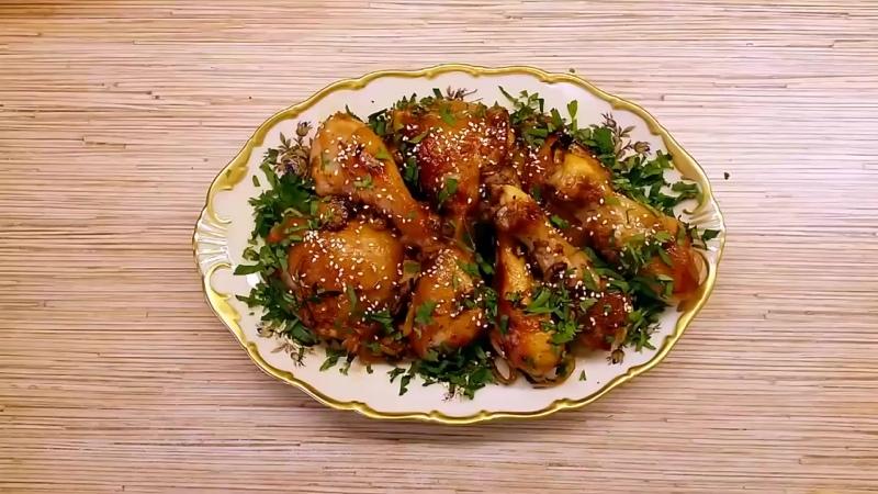 Курица в медово-соевом маринаде, запеченная в духовке. Легкий рецепт для праздни