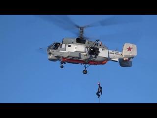 Тренировка летчиков морской авиации по спасению терпящих бедствие экипажей на Камчатке