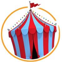 Логотип Реклама ЦИРКА шапито SMM Продвижение в интернете