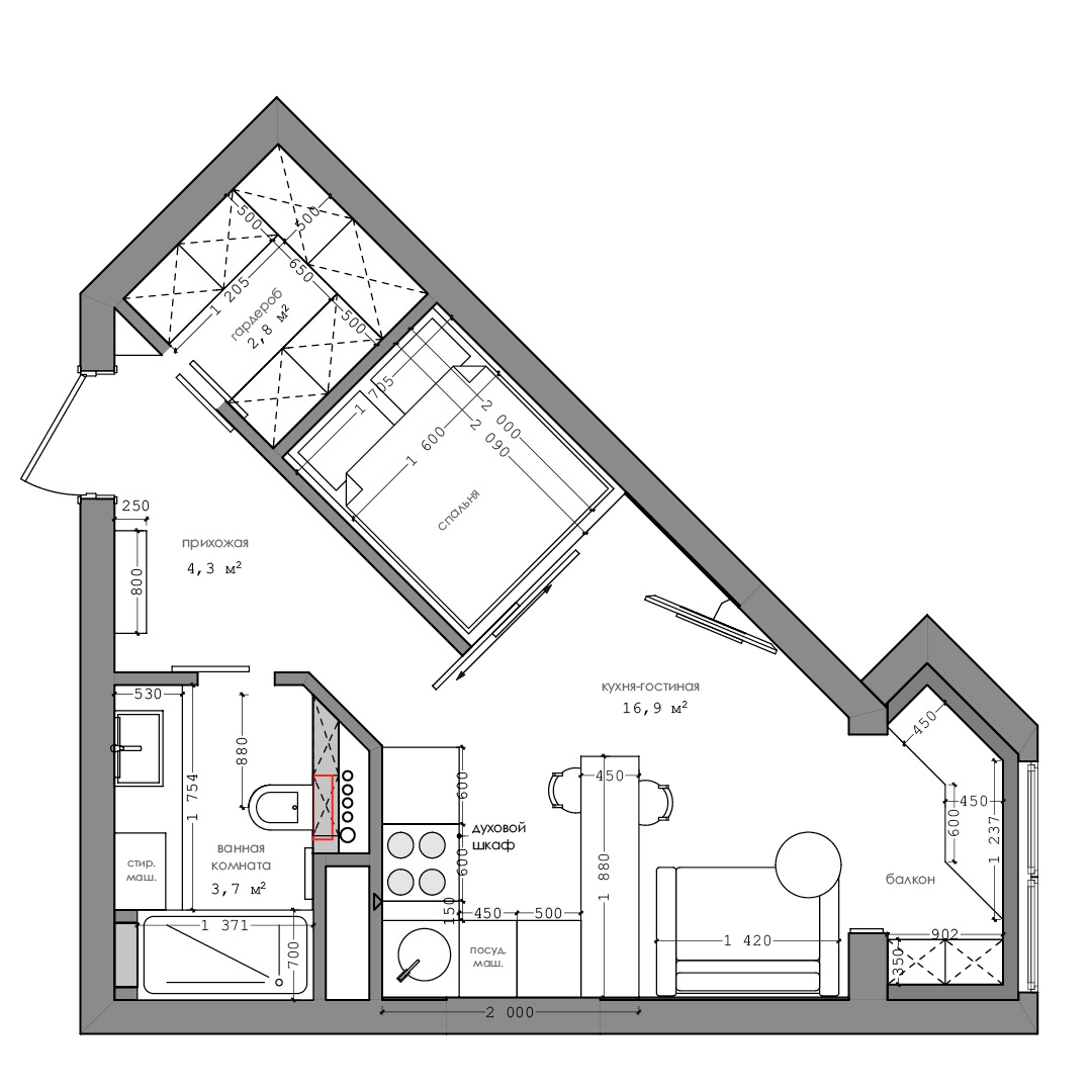 Проект квартиры 28 м нестандартной планировки.