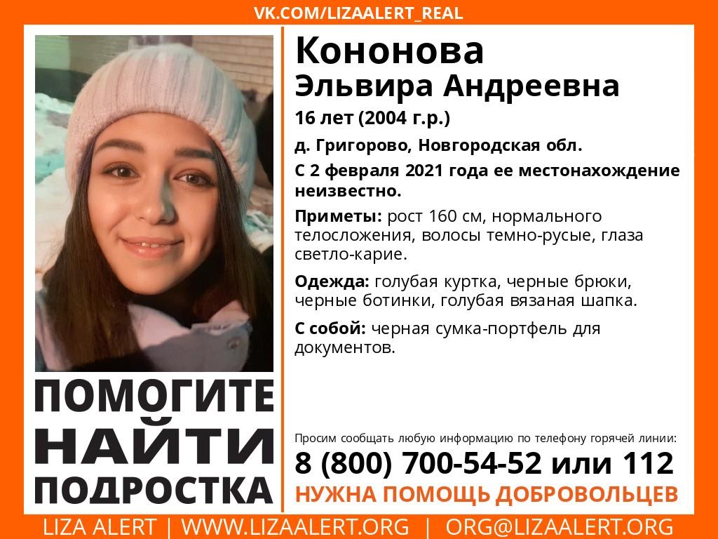 Внимание! Помогите найти человека! Пропала #Кононова Эльвира Андреевна,16 лет, д