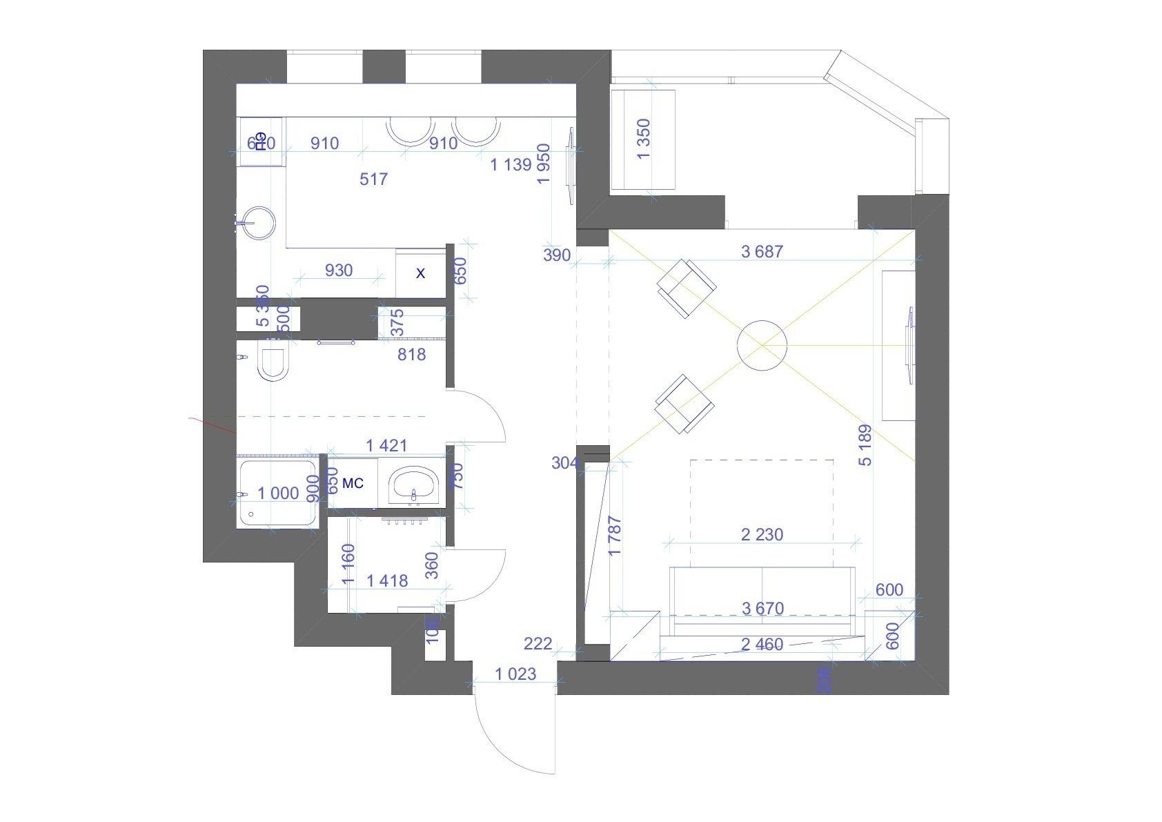 Интерьер квартиры 45 кв.