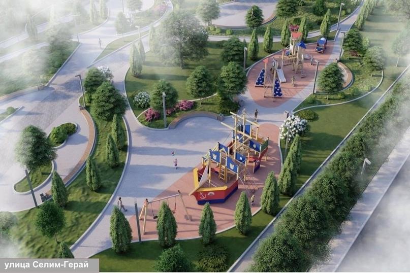 Веревочный парк, спортплощадка и прогулочные дорожки: на улице Селим-Герай завер...