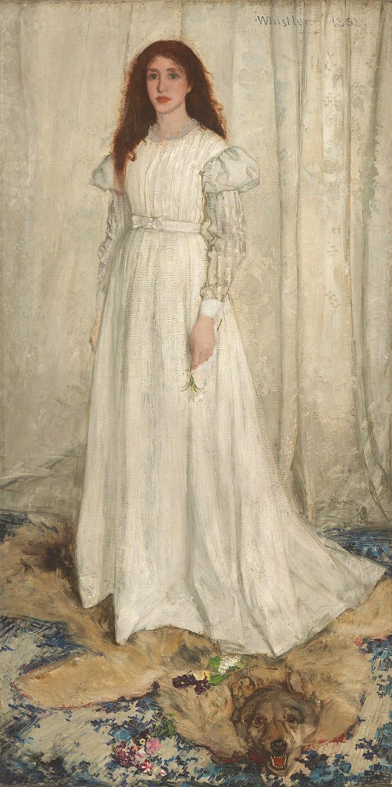 Фото 6. Джеймс Уистлер. «Симфония в белом № 1: девушка в белом», 1861 (Была выставлена на знаменитом Салоне отверженных 1863 года в Париже)