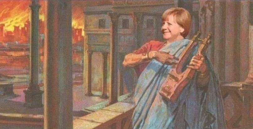 Foto: Merkel legt die Lunte ans Fass! Rede in Holland macht Deutsche zu ewigen Verbrechern! (Fotomontage, Unbekannt)