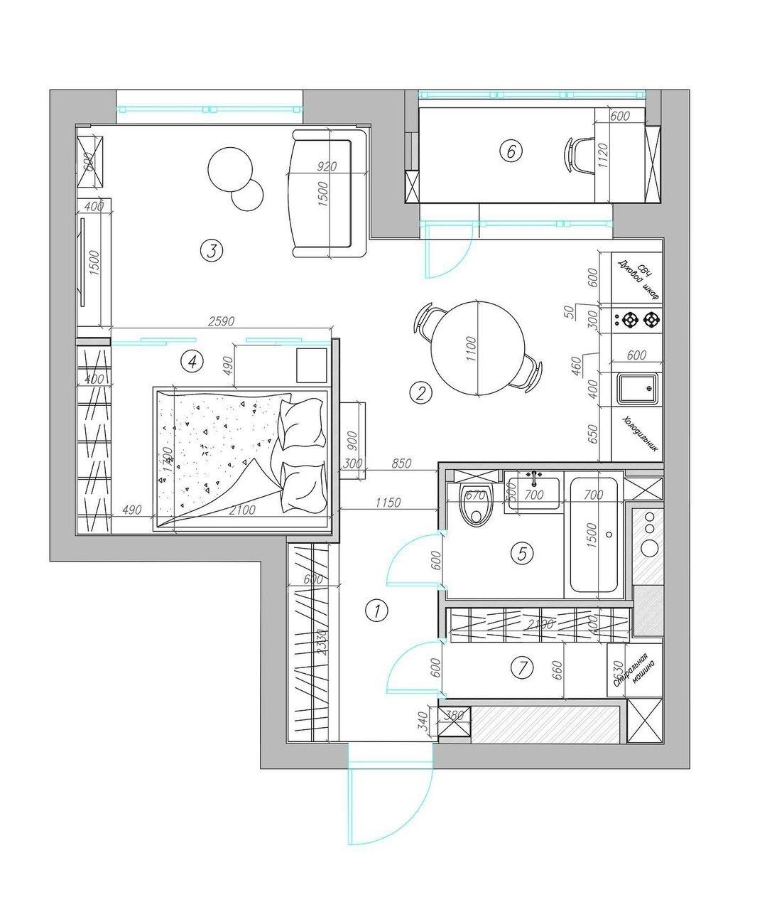 Проект квартиры 35,5 кв.