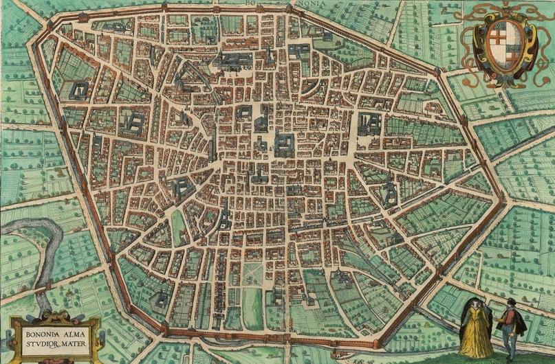Болонья, карта второй половины XVI века, атлас Civitates Orbis Terrarum Брауна и Хогенберга, том 4.