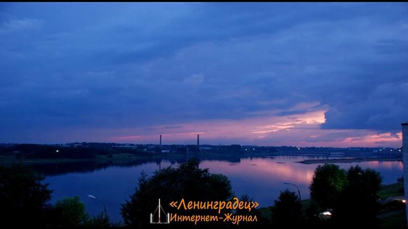 Timelapse stock footage Rybinsk river Volga floodgates sunset thunderstorm