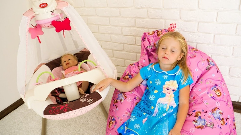 Rock a bye baby nursery rhyme song for kids by Nastya and her little reborn baby doll
