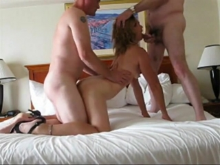 Wife husband and friend in a motel
