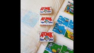 Atomik gum inserts series + Atomik sealed Gum presentation~seria surprize gume Atomik +Guma sigilata