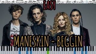 Måneskin - Beggin' (кавер на пианино + ноты) easy