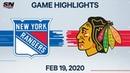 NHL Highlights Rangers vs Blackhawks Feb 19 2020