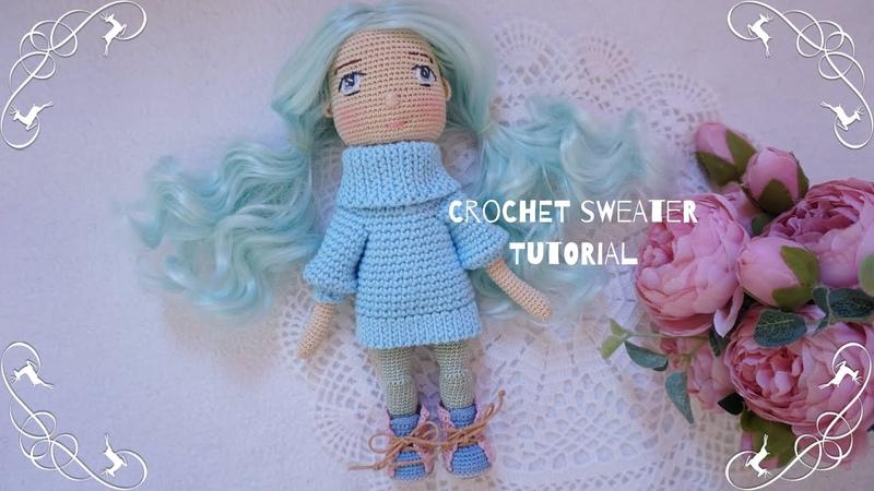 Easy crochet doll sweater 🧶 crochet Oversize sweater