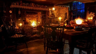 Ambience/ASMR: Victorian Cottage Kitchen at Night (with Fireplace, Clock, & Snowfall), 8 Hours