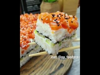 Рецептик ❤ суши-торта, очень необычный рецептик, супер вкусно, подойдёт для всей семьи, и отлично для Нового Года