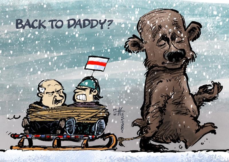 Протесты в Белоруссии в карикатуре