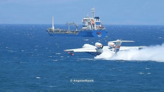 Beriev Be-200ES perform seawater intakes at Chios Strait during firefight operations.