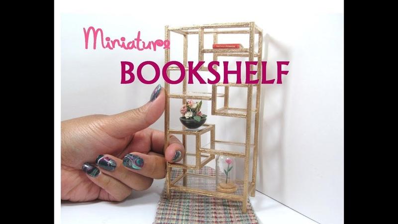 DIY Glass Bookshelf Dollhouse Miniature Furniture