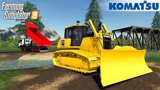 Farming Simulator 19 - KOMATSU D65 PXI-17 Bulldozer Builds A Bridge Over A River